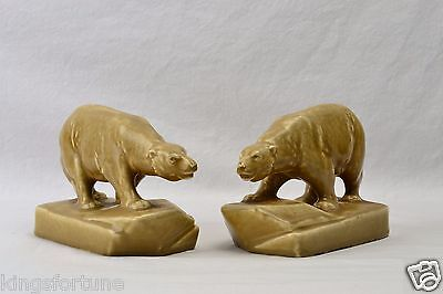 Rookwood Pottery Bookends Beige Polar Bear Bookends #2678, 1929