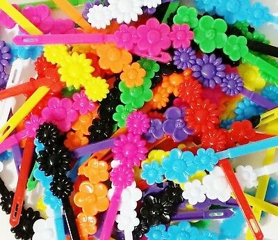 LOT OF 200 HAIR BARRETTES DAISY FLOWER HEART HAIRBOWS SCHOOL PONYTAIL CLIP PARTY