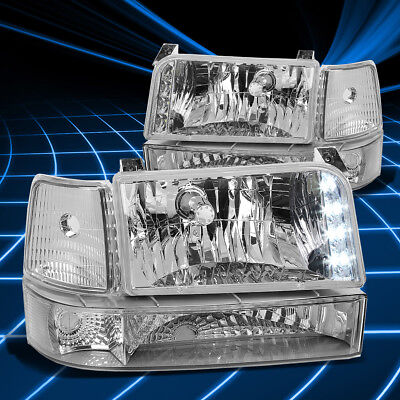 Fit F-Series/Bronco 92-96 Chrome Amber Corner Reflector Headlights+Bumper Lamp
