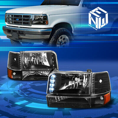 Fit F-Series/Bronco 92-96 Black Clear Corner Reflector Headlights+Bumper Lamp