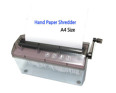 NEW Portable Mini Hand Wind Paper Shredder Office Home School Straight-Cut A4