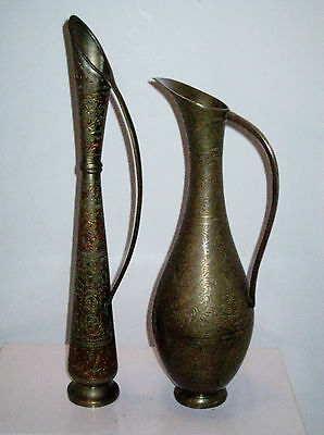 Vintage Pair of Solid Brass Vases Hand Made Harilela's Both Marked India