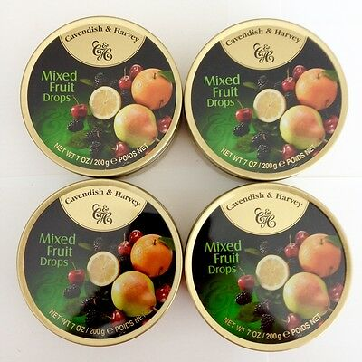 4 x 200g TINS OF CAVENDISH & HARVEY MIXED FRUIT DROPS - MADE IN GERMANY