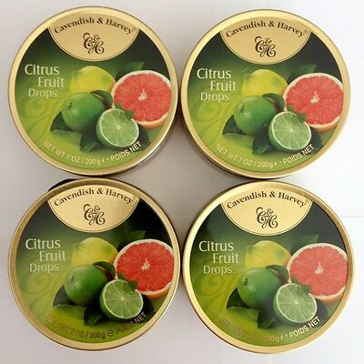 4 x 200g TINS OF CAVENDISH & HARVEY CITRUS FRUIT DROPS - MADE IN GERMANY