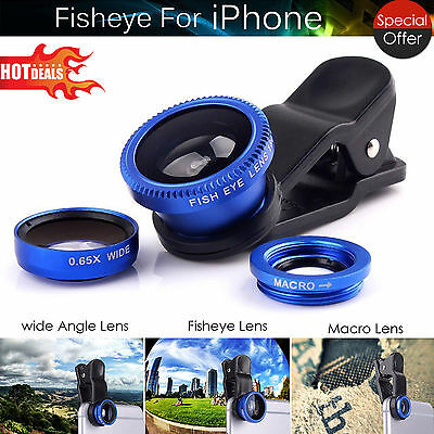 3 in 1 Camera Set Wide Angle Macro Fish Eye Lens for iPhone 6 5 HTC Samsung UK