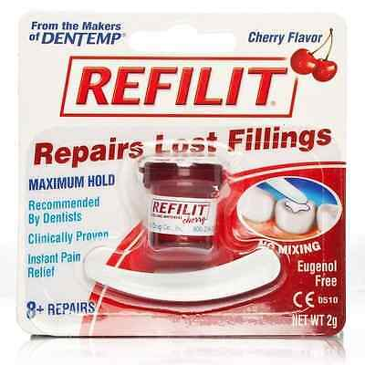 Dentemp Refilit Dental Cement Tooth Filling Cherry 2g - 8 Repairs Lost Fillings