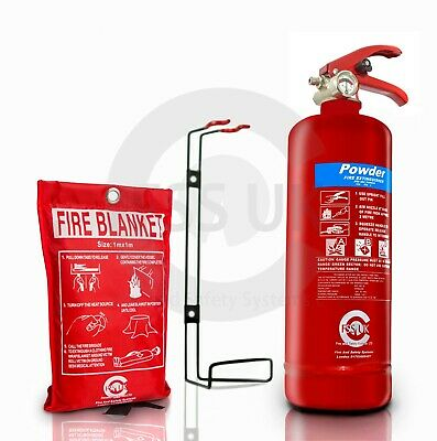 Bsi Kitemarked 2 KG POWDER FIRE EXTINGUISHER WITH FIRE BLANKET HOME OFFICE CAR