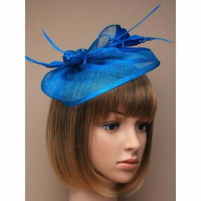 Ladies Teal Blue Large Sinamay Fascinator with Feather Tendrils