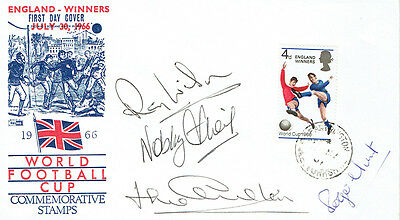 WILSON, STILES, CHARLTON, HUNT Signed Autograph FDC COA AFTAL World Cup 1966