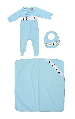 Baby Boy's Hand Smocked 3 Piece Gift Set Boat Bib Blanket & Babygrow New Shower