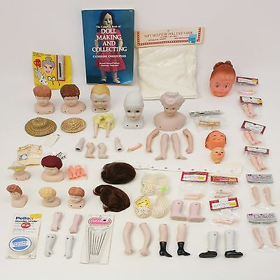 Lot Doll Parts Legs Arms Heads Feet Hands Wigs Needles Eyelashes Book Hats