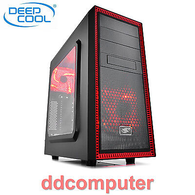 Deepcool Tesseract SW Mid Tower Gaming Desktop PC RED Computer Case No PSU