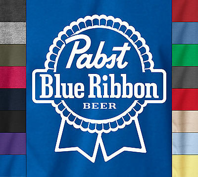 PABST BLUE RIBBON Beer on Soft Ringspun 100% Cotton T-Shirt Milwakee Drink Logo