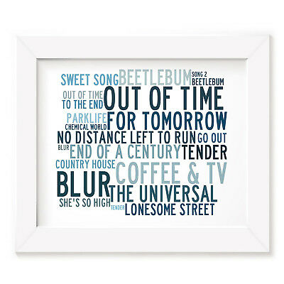`Crystalline` BLUR Art Print Typography Song Lyrics Signed & Numbered Poster