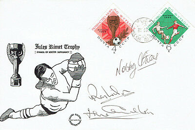 WILSON, STILES, CHARLTON Signed Autograph FDC COA AFTAL ENGLAND World Cup 1966 D