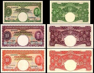 !copy! Malaya 5$ 1941 / 10$ 1940 / 10$ 1941 Banknotes !not Real!