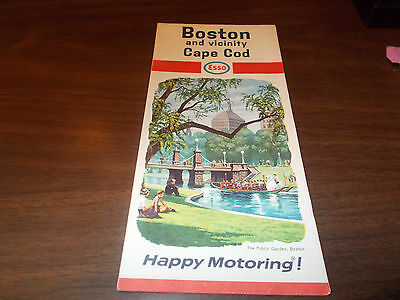 1966 esso boston cape cod vintage road map public garden on cover picclick Boston public garden map