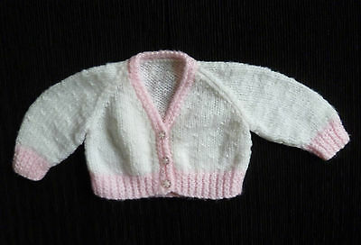 Baby clothes GIRL newborn 0-1m soft white/pink cardigan SEE SHOP! COMBINE POST!