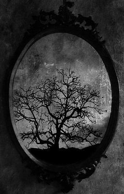 Framed Print Clock Hanging from a Dead Tree Picture Poster Gothic Art Birds