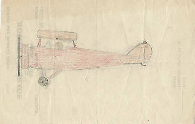 Circa 1930 Drawing of Open Cockpit Airplane