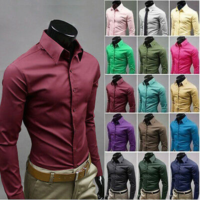 Fashion Mens Luxury Stylish Casual Dress Slim Fit T-Shirts Long Sleeve 17 Color
