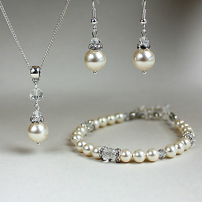 Quality cream pearls clear crystal necklace bracelet earrings silver wedding set