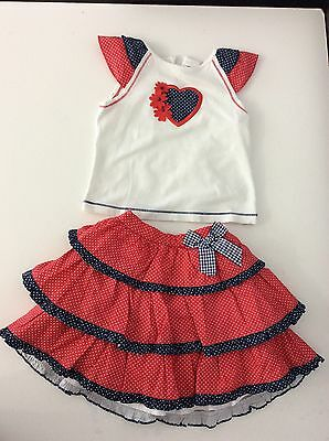 SARAH LOUISE 2 Piece Outfit Set Skirt Top Red white Blue  Vgc Age 2 -3 Years