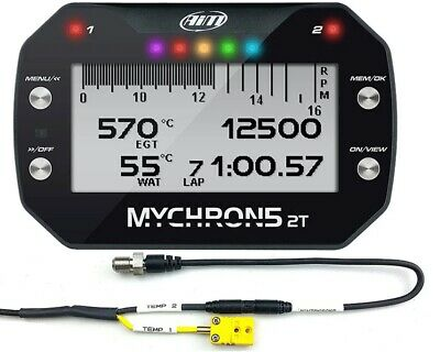 AIM Mychron 5 2T GPS Datalogger Unit, Water Temp Sensor & RPM Lead UK KART STORE