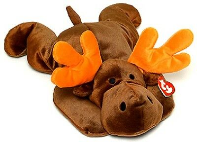 """Ty Brown Pillow Pals Antlers The Moose 16"""" Stuffed Animal, New With Tag!"""