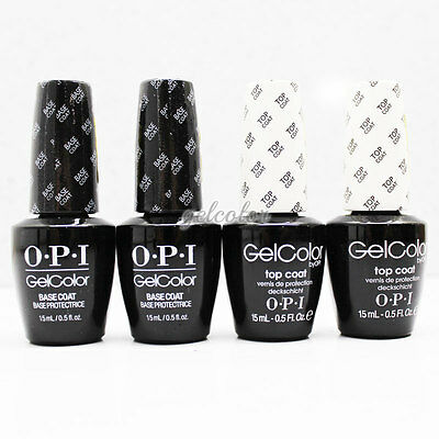 OPI Gelcolor Soak Off Gel Color Polish 2 BASE COAT+2 TOP COAT 0.5oz 15ml KIT Set