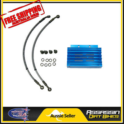 Blue CNC oil cooler kit Radiator 140cc 150cc 160cc PIT PRO Trail Dirt Quad Bike