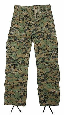 Rothco 8 Pocket Woodland Digital Paratrooper Fatigue Pants Vintage Camo