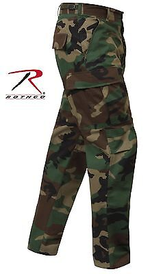 Woodland Camo Rip-Stop Cotton BDU Cargo Pants - Mens Military Camouflage Pants