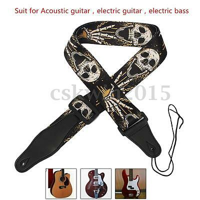 Nylon Guitar Strap PU Leather Ends For Acoustic Folk Bass Horror Skull Style