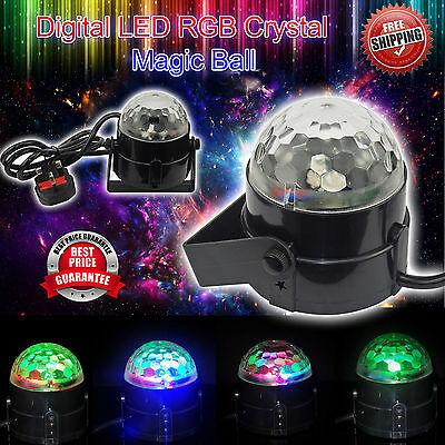 Music Activated RGB LED Crystal Ball Rotating Stage Light DJ Club Party Disco UK