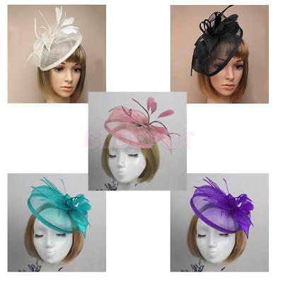 Hair Fascinator Headband Wedding Feather Hat Aliceband Ladies Day Royal Ascot