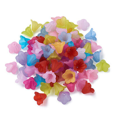 100pcs Mixed Color Frosted Acrylic Beads Flower DIY Crafting Jewelry Findings