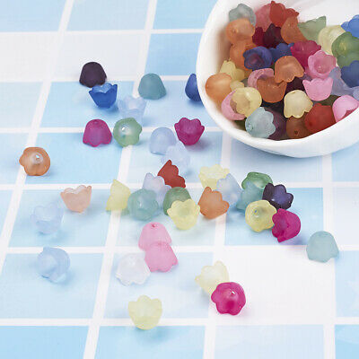 100pcs Mixed Frosted Acrylic Flower Bead Caps DIY Craft Beads Jewelry Findings