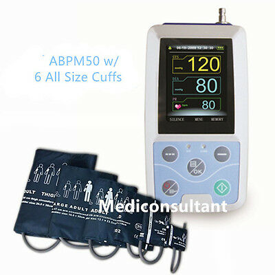 Free 6 All Size Cuffs CE Contec ABPM50 Ambulatory Blood Pressure Monitor(NIBP)