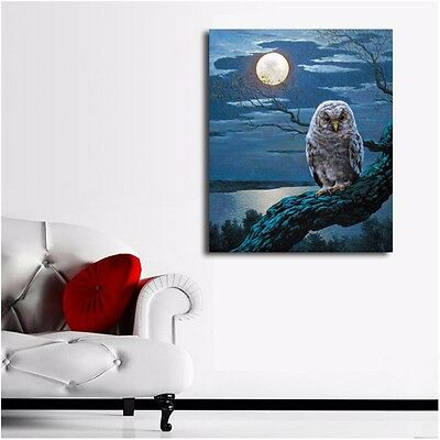 Framed Canvas Prints Stretched Owl Moon Giclee Wall Art Home Decor Painting