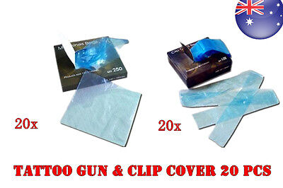 20 set TATTOO GUN MACHINE & Clip Cord COVERS BAGS Sleeves ( needles ink )