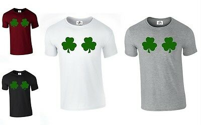 Shamrock t shirt Leprechaun St Patricks Day boobs Irish chest joke (LEAF,TSHIRT)