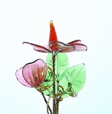 Cute Pink Glass Flower Stunning Decoration For Table Shelf Display Cabinet New