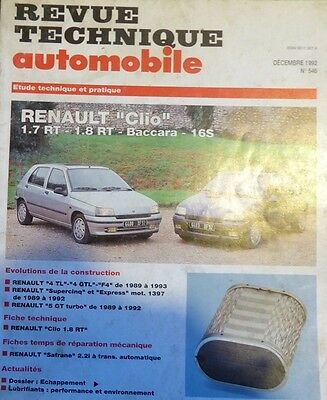 Revue technique RENAULT CLIO PHASE1 1.7 RT 1.8 RT 16S 16 S BACCARA RTA 546 1992