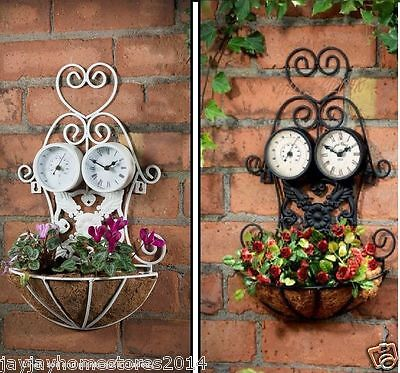 Vintage Garden 3 in 1 Clock,Planter & Thermometer/Battery Operated/Black/Cream