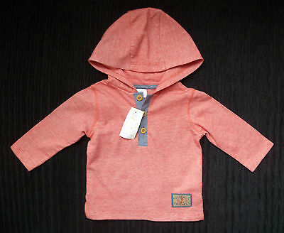 Baby clothes BOY 0-3m F&F soft hooded red/blue long sleeve top NEW! SEE SHOP!