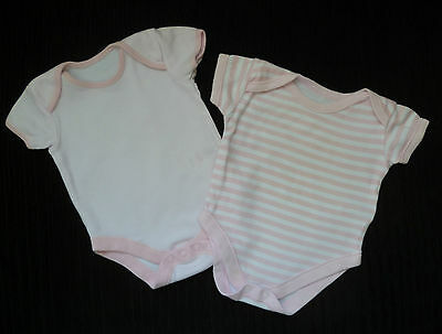 Baby clothes GIRL 3-6m 2 George soft, pink/white striped bodysuits COMBINE POST!