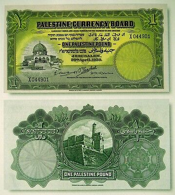 High quality COPY with W/M 1 Palestine Pounds 1939