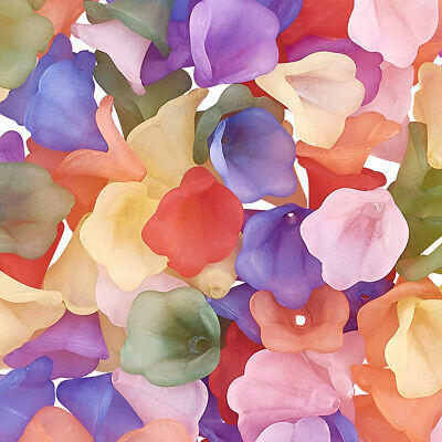 100pcs Transparent Frosted Acrylic Beads Dyed Flower Mixed Color Craft Findings