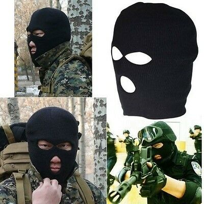 Black Balaclava SAS 3 Hole Mask Paintball Ski Hat SKYING FISHING HIKING Motorbik